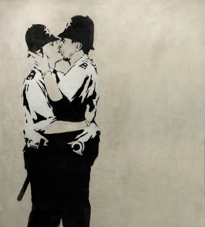 Banksy - Kissing Coppers, 2005 - Spray paint & stencil on emulsion base with aluminum substrate in wood and glass frame, 89 x 65 x 4 inches - Original unique street work from Brighton.