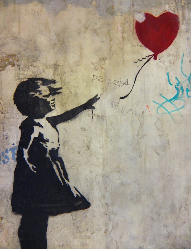 Banksy - Girl With Balloon, London, 2006 - Spray Pain on Render, 84 x 60 inches - Original Street Work