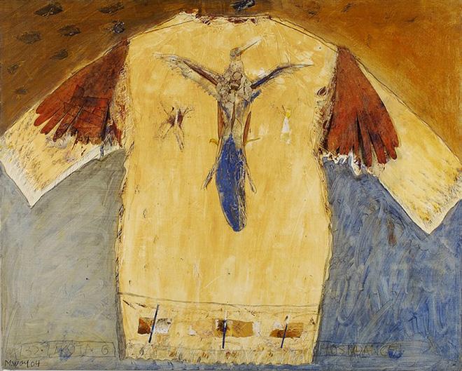 Monika Wolf - Lakota con ali di carta, olio e collage su tela, cm 80x100, 2004