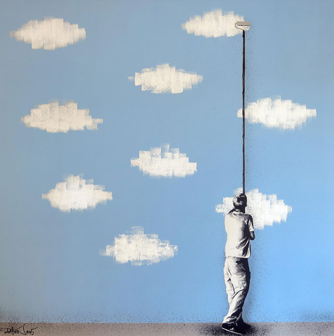 Martin Whatson - Paint The Skies, Mixed media on canvas - 40 x 40 Inches - 100 x 100 cm