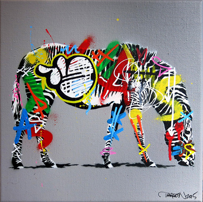 Martin Whatson - Zebra, Mixed media on canvas - 12 x 12 Inches - 30 x 30 cm