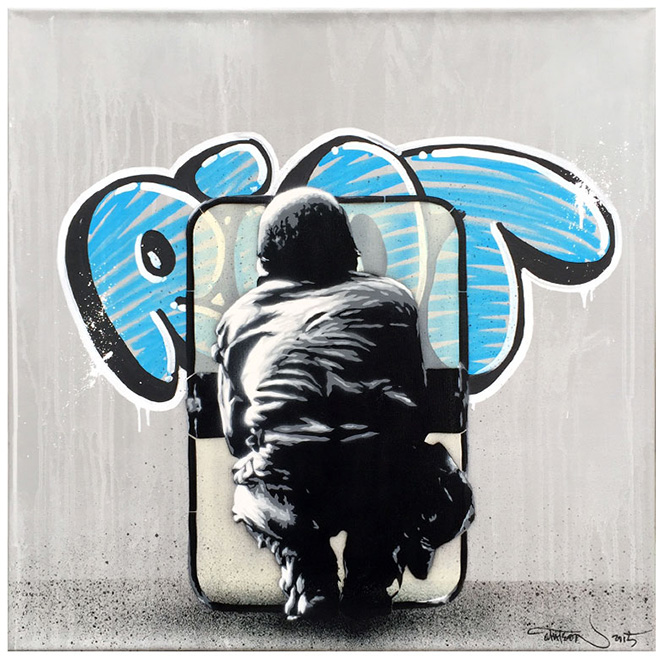 Martin Whatson - Riot, Spray paint and acrylic on canvas - 23.5 x 23.5 Inches - 60 x 60 cm