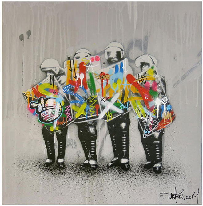Martin Whatson - Love Cops, Spray paint and acrylic on canvas - 23.5 x 23.5 Inches - 60 x 60 cm
