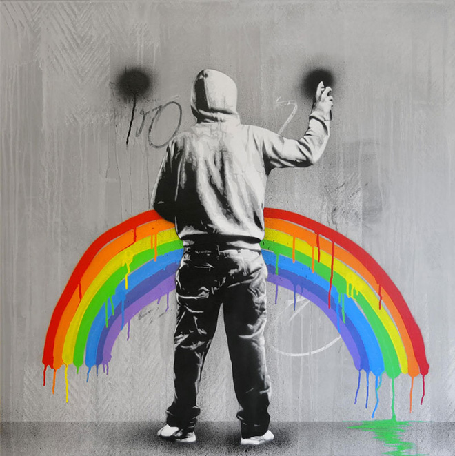 Martin Whatson - Sad Rainbow, Mixed media on canvas - 40 x 40 Inches - 100 x 100 cm