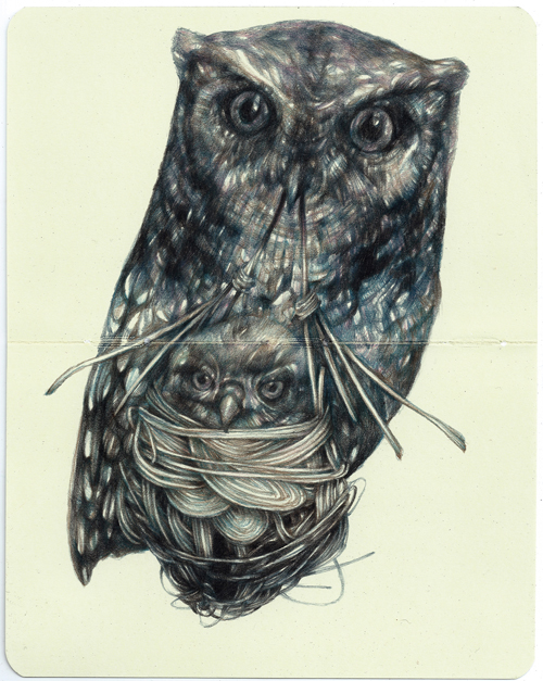 Marco Mazzoni - Mother II, 2015 - 18×14 cm - Colored pencils on Moleskine paper