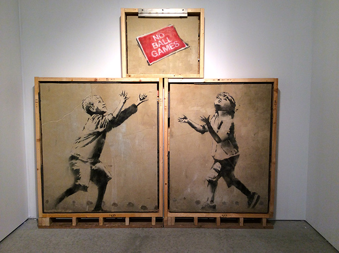 Banksy - No Ball Games, London, 2009 - Stencil and Spray Paint on Render, 8 x 6 feet (In Three Sections) - Original Street Work