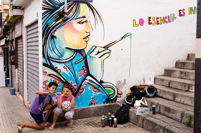 Alice Pasquini - Melilla, arte senza confini. Photo Fatima Mesaud