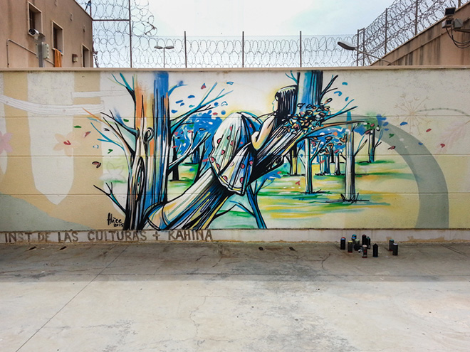 Alice Pasquini - Melilla, arte senza confini. Photo Francesco Bondanini  - Melilla Prison - Women's Section
