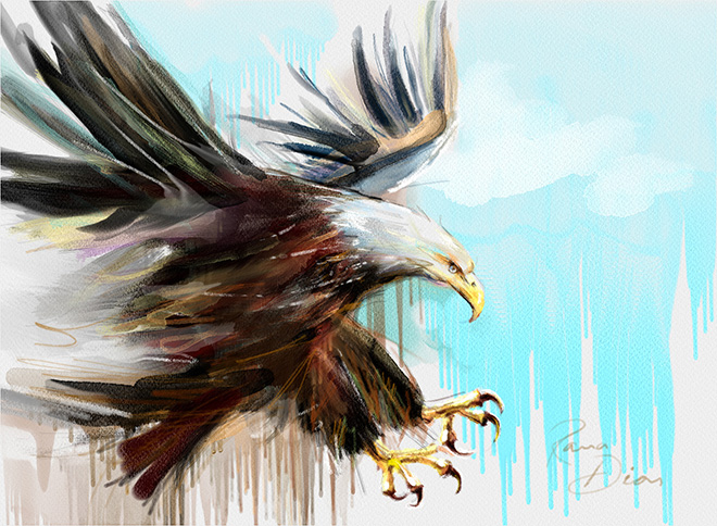 Eagle by Rana Dias - Rebelle, Watercolor & acrylic painting application