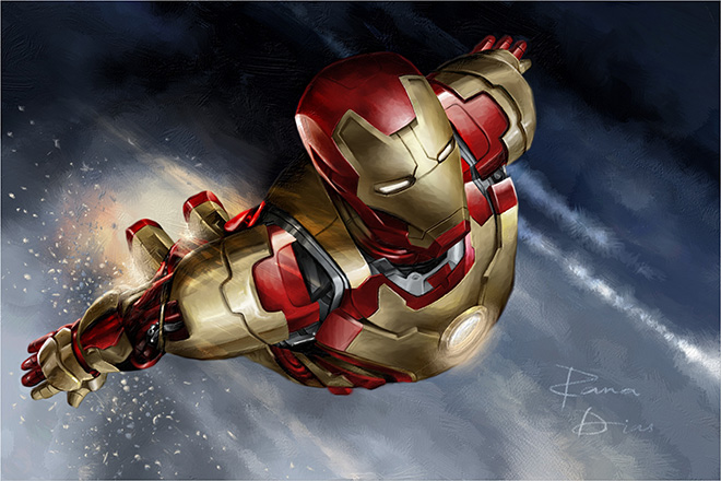 Ironman by Rana Dias - Rebelle, Watercolor & acrylic painting application