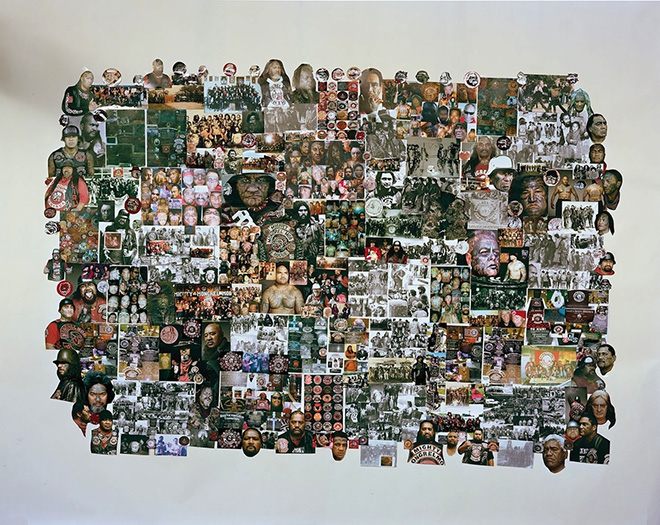 Jono Rotman - Mongrel Mob Portraits - Denimz' Collage #3, 2014 - C-Type Photograph, 1.8m X 2.3M