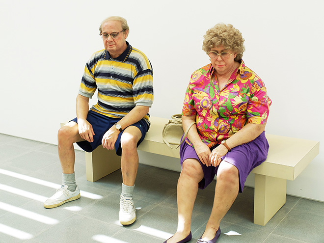 Duane Hanson - Old Couple on a Bench 1994, Edition 1/2 (unique editions) - Bronze, polychromed in oil, mixed media, with accessories - The Estate of Duane Hanson - image © Luke Hayes