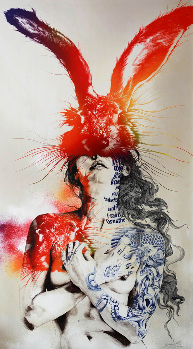 Gabriel Moreno - PROJECT/ HARE  SIZE/ 200 x 112 cm TECHNIQUE/ DIGITAL PRINT, PENCIL,PEN, PEN BALL, AND WATERCOLOR BASE/ WOOD BOARD. 2014