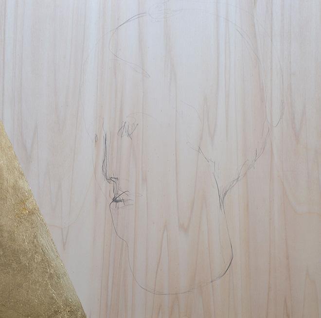 Lello Torchia, Aurum - Testa, 2012/13 - Matita e foglia oro su legno. 40 x 40 cm