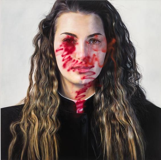 Mauro Maugliani - IN GOD WE TRUST, 2013, oil o linen - cm 200 x 200.