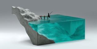 Ben Young - Detachment, Laminated clear float glass with cast concrete and cast bronze. H 200 x W 345 x D 250mm.