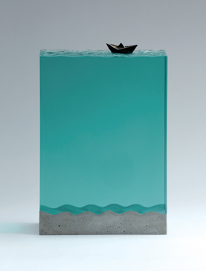 Ben Young - Folded Voyage - Laminated clear float glass with cast concrete and cast bronze. H 350 x L 230 x D 120mm.