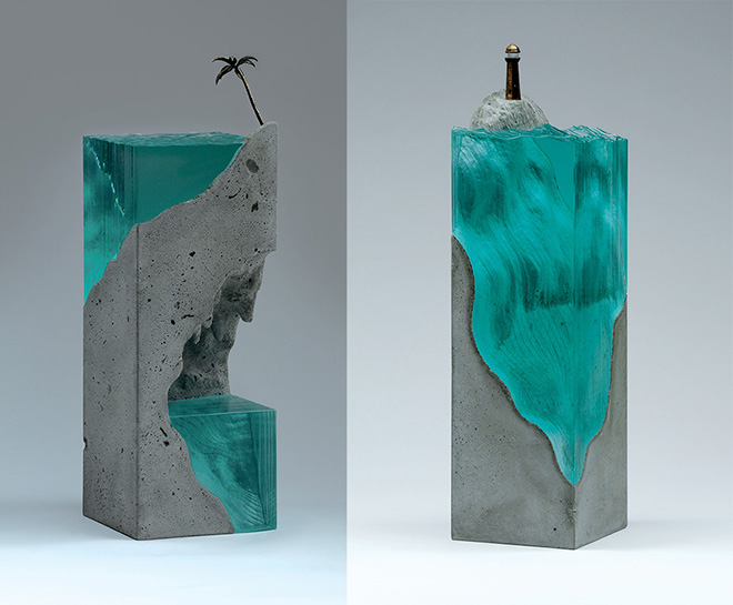 Ben Young - Grotto - Laminated clear float glass with cast concrete and cast bronze. H 470 x L 150 x D 150mm.