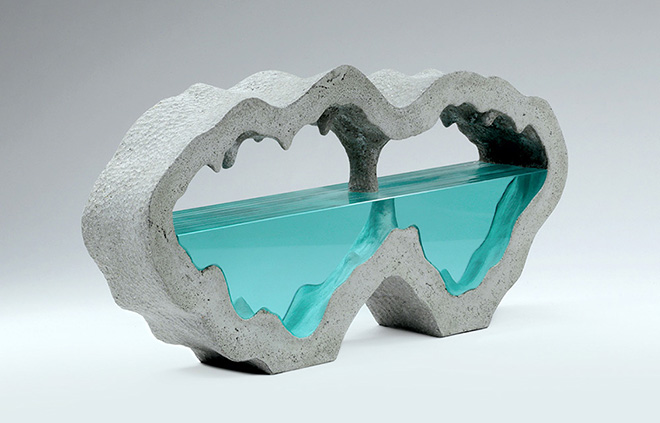 Ben Young - Subterrean III, Laminated clear float glass with cast concrete. H 280 x L 640 x D 96mm.
