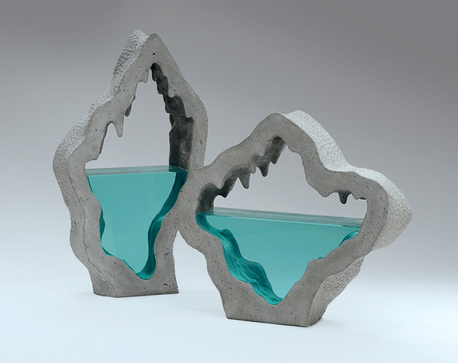 Ben Young - Subterrean II, Laminated clear float glass with cast concrete. H 280 x L 640 x D 96mm.
