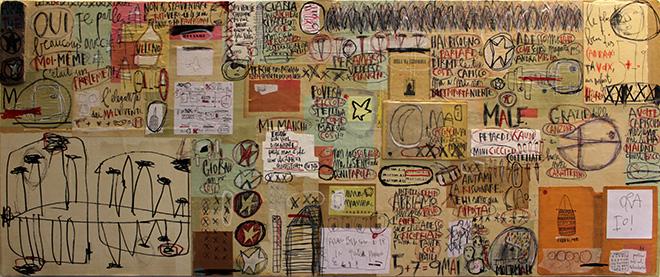Tommaso Santucci - Bella, ma pericolosa - 150 x 58 x 7 cm - Maggio 2015 - Tecnica mista su tavola e carte collage