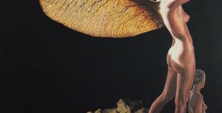 """José Molina - Collezione """"Beloved earth"""", La prima mattina, 2015 - Olio su tavola, 115 x 115 cm"""