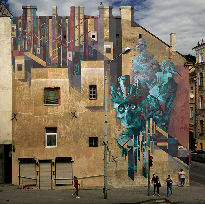 SEPE - Corest Fity, Mural collaboration with Chazme, Vilnius Street Art (LT) - 2015