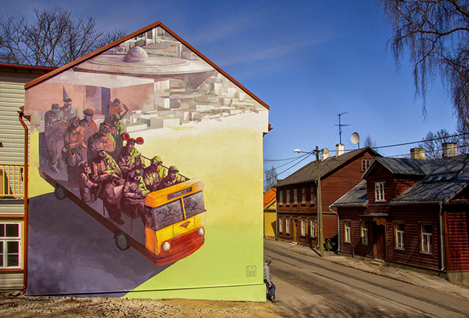 SEPE - Supilinn 15, Mural together with Chazme for Stencibility festival in Tartu/Estonia, 2015