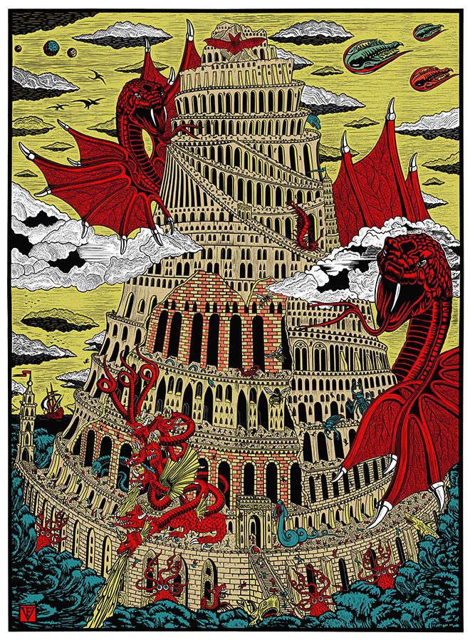 Frederic Voisin - La Tour de BABEL, serigrafia, 70 x 100 cm, 2015