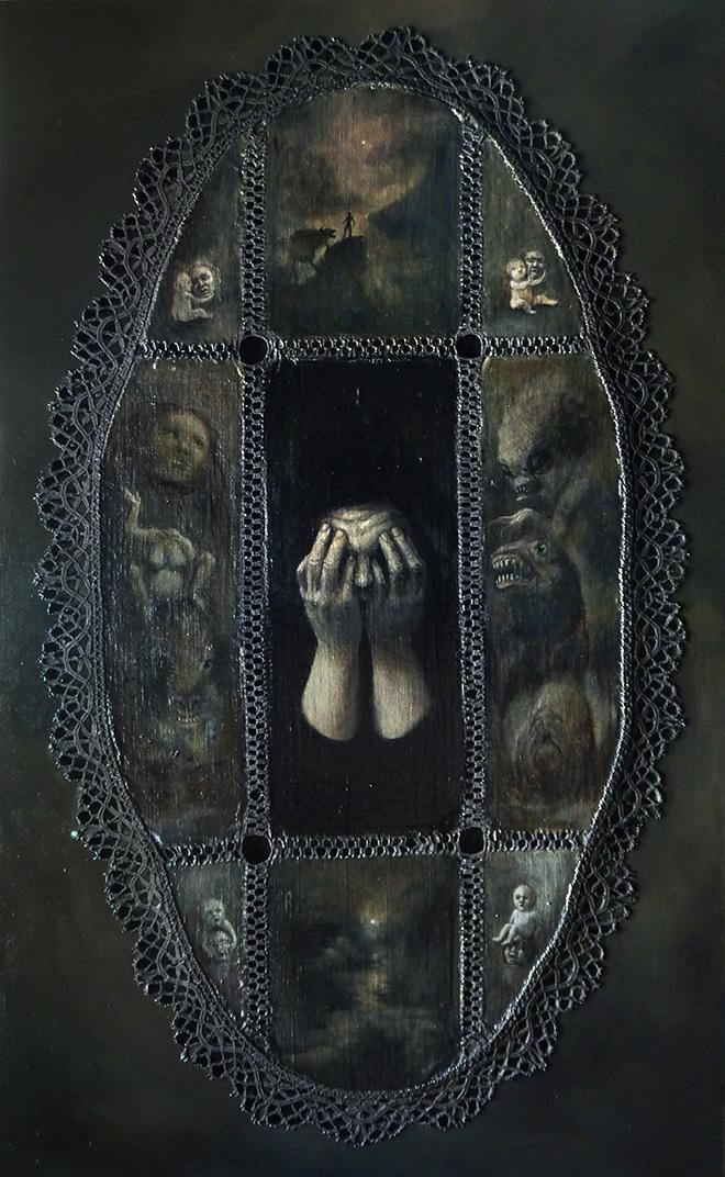 Murielle Belin - Le voyage nocturne, tecnica mista, 2015, 61 x 37 cm