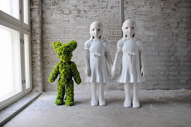 Kim Simonsson - Two Headed Moss Bunny and Moss Girl, 2015 - Nylon and Ceramic Fibre, 15 X 40 X 30 INCHES