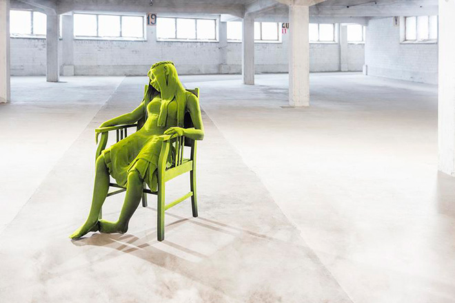 Kim Simonsson - Resting Moss Woman, 2015 - Ceramic, Wooden chair and Nylon fiber, 47.24H X 27.56W X 41.34D IN