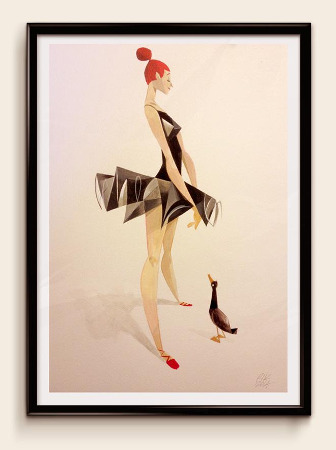 "Riccardo Guasco - ""the birth of the swan"" - Acrylic on paper, 2014"