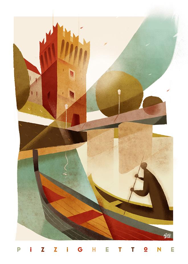 """Riccardo Guasco - """"Torre del Guado - Pizzighettone""""  - Illustration for exposition """"Aiuto mi sono perso: la provincia di Cremona illustrata"""" by Tapirulan @Museo del Violino - Cremona, 2014."""