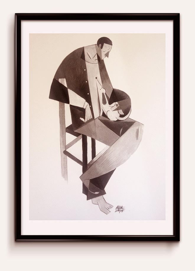 """Riccardo Guasco - """"uomini e cani"""" - print on paper at inchiostrofestival, 2014"""