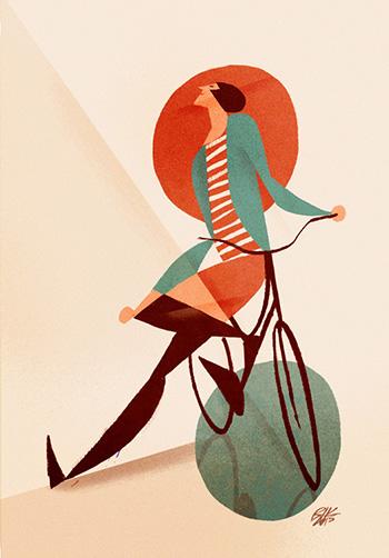 """Riccardo Guasco - """"Donna con bicicletta, pozzanghera e cerchio rosso"""", 2015"""