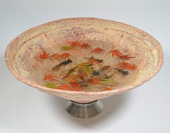 Riusuke Fukahori - Kingyo Sake (Chaka), 2015 - Japanese Cypress sake cup, resin, acrylic, 2.15 x 3.35 x 3.35 inches