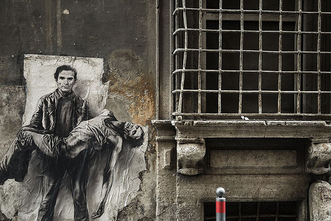 Ernest Pignon-Ernest - Pier Paolo Pasolini, Roma, 2015