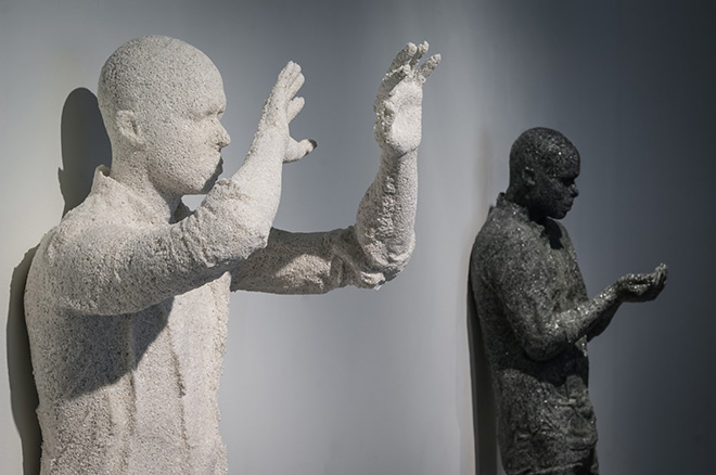 Daniel Arsham - Standing Figure with Hands Up, 2015, Courtesy of the Burger Collection Hong Kong + Standing Figure with Hands Out, 2015, Courtesy of the Artist and Galerie Perrotin, New York/Paris