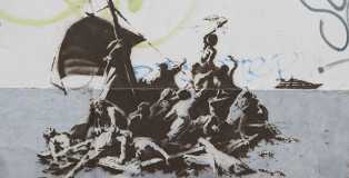 Banksy - Calais Town centre, We're not all in the same boat. A contemporary version of The Raft of the Medusa by Théodore Géricault