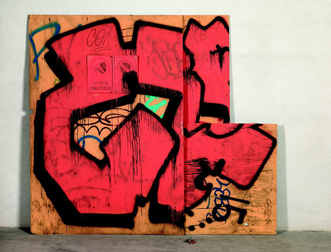 B.Downey (USA) - Unauthorized collection of wood with vadalism, 2014