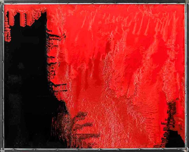 Stefano Frascarelli - Senza titolo (nero e rosso) - Smalto su plexiglass, cm 120x150