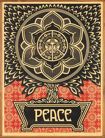 Shepard Fairey (USA) - Peace, 2007, serigrafia su legno.