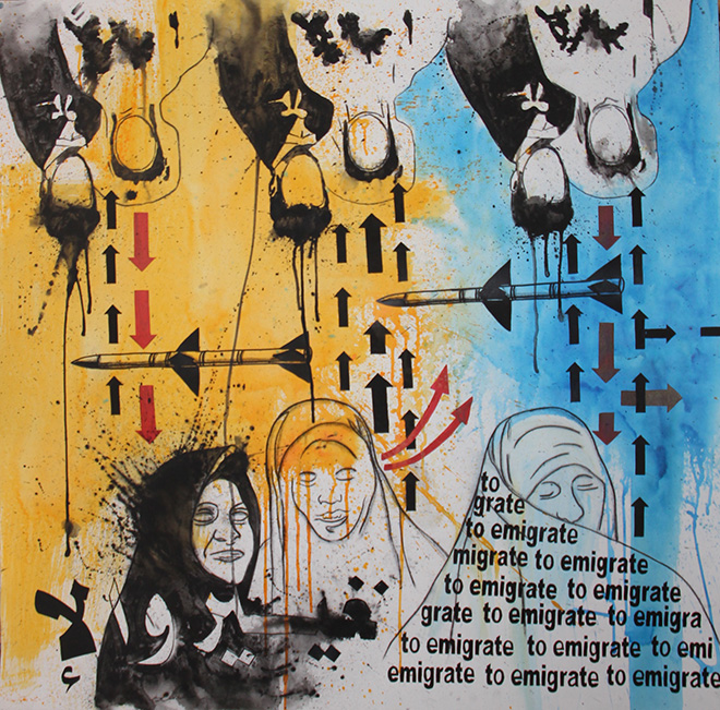 Roberto Giriolo - To emigrate, acrilico su tela, 2011