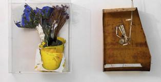 Giacomo Cossio - Vaso giallo, 2009. cm-90x60x20, tecnica mista su tavola. Francesco Bocchini, L'illusionista Fedro Marvelli, 2013, cm 62x104x25 olio su lamiera di ferro, meccanismo a parete. photo credit: Dario-Lasagni