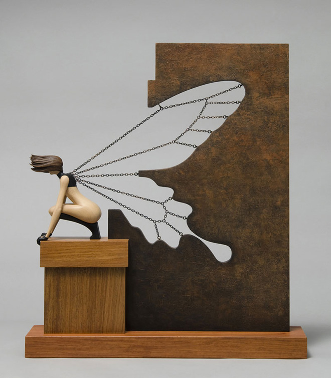 John Morris - Butterfly Effect, Sculptured Wood, 42x10cm x 48cm