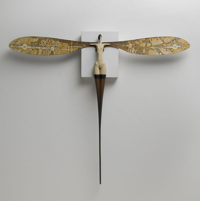 John Morris - Metromorphosis, Timber, paint 30cm x 34.5cm