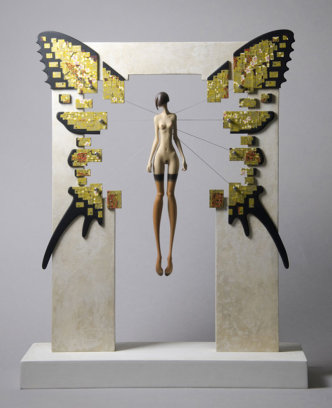 John Morris - High Wire, Timber, paint, Japanese Chiyogami paper and metal, 30cm x 37cm