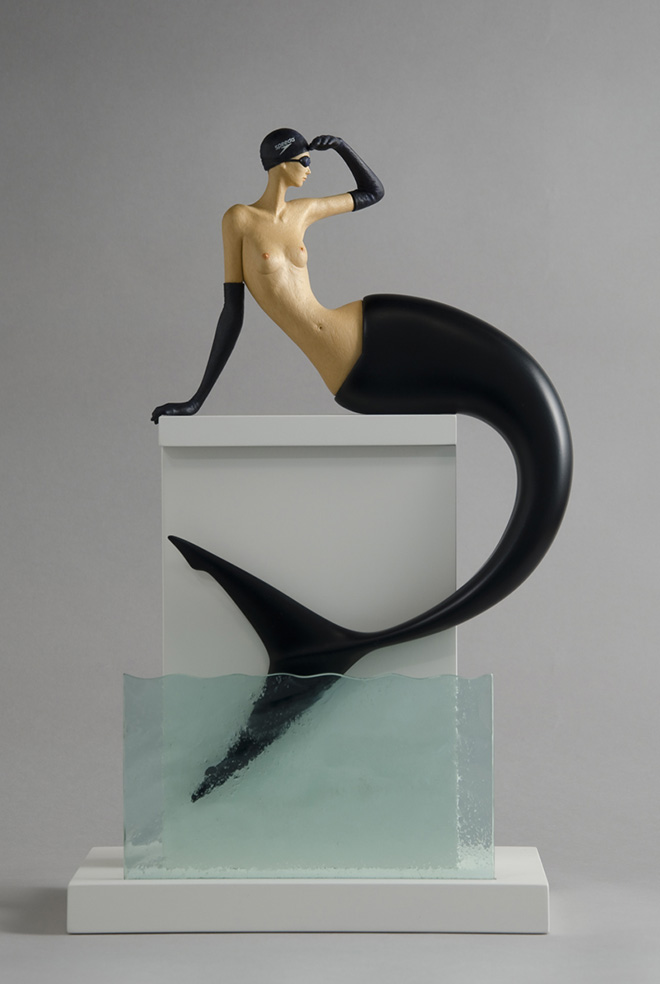 John Morris - High Tide, Sculptured Wood, 28 x 30cm x 47cm