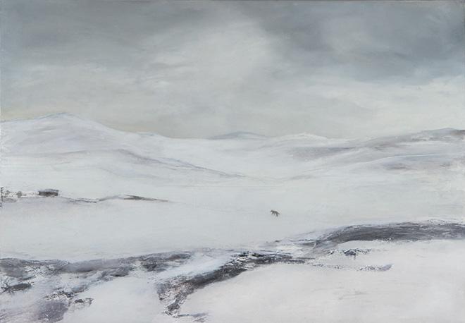 Verena D'Alessandro - Lupo solitario, olio su tela,70x90 cm, 2012